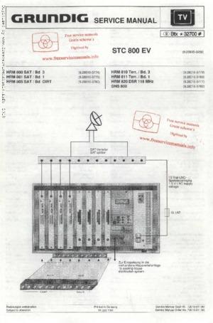 Grundig STC 800 EV Free service manual pdf Download