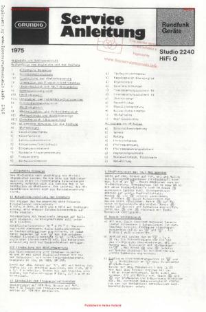 Grundig STUDIO 2240 hifi q Free service manual pdf Download