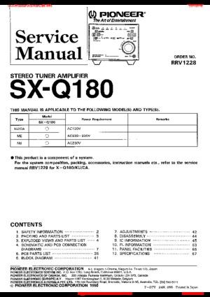 Pioneer SX-Q180 Free service manual pdf Download