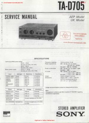 Sony TA-D705 Free service manual pdf Download