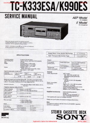 Sony TC-K333ESA TC-K990ES Free service manual pdf Download