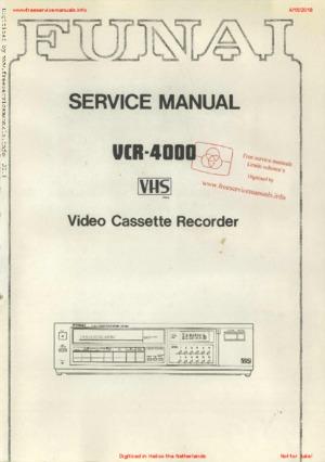 Funai VCR-4000 Free service manual pdf Download