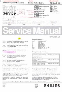 Philips VR285 VR487 VR685 VR686 Free service manual pdf Download