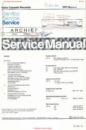 Philips VR716 free philips service manual Free service
