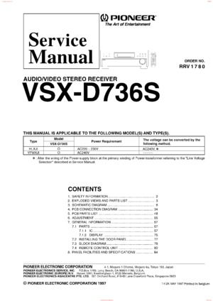 Pioneer VSX-D736S Free service manual pdf Download