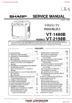 SHARP VT-1480B VT-2198B Free service manual pdf Download