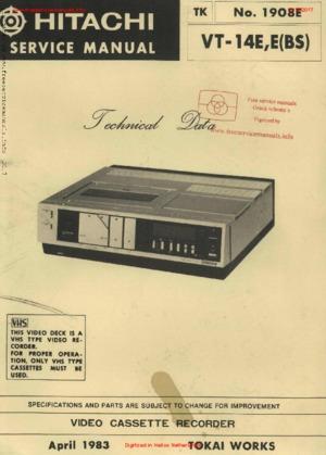 Hitachi VT-14E Free service manual pdf Download
