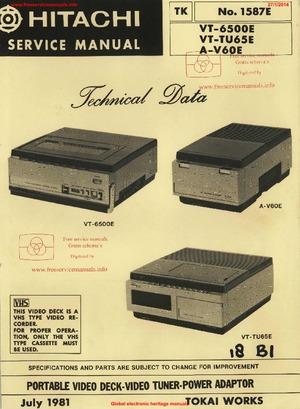 Hitachi VT-6500E VT-TU65E Free service manual pdf Download