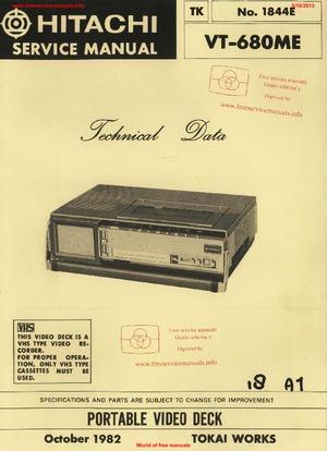Hitachi VT-680ME Free service manual pdf Download