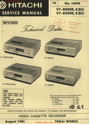 Hitachi VT-8000E VT-8500E Free service manual pdf Download