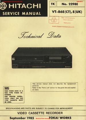 Hitachi VT-86E Free service manual pdf Download