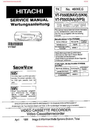 Hitachi VT-F550E VT-F551 VT-F640E VT-F645E Free service manual pdf ...