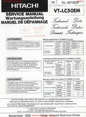 Hitachi VT-LC50EM Free service manual pdf Download