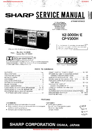 SHARP VZ-3000H Free service manual pdf Download
