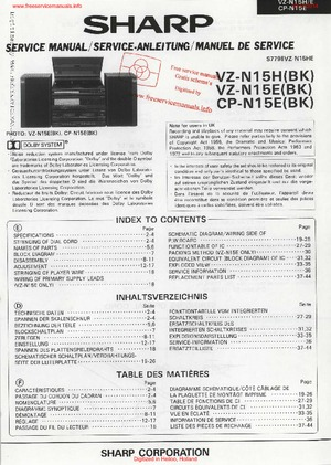 SHARP VZ-N15H VZ-N15E CP-N15E Free service manual pdf Download