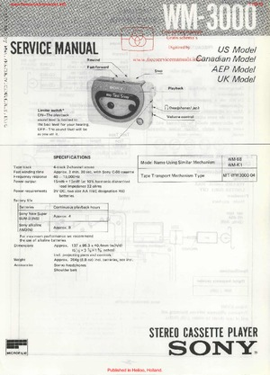 Sony WM-3000 Free service manual pdf Download