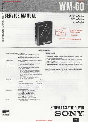 Sony WM-60 Free service manual pdf Download