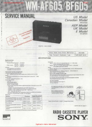 Sony WM-AF605 WM-BF605 Free service manual pdf Download