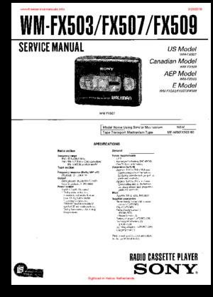 Sony WM-FX503 WM-FX507 WM-FX509 Free service manual pdf Download