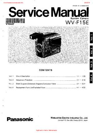 Panasonic WV-F15E Free service manual pdf Download
