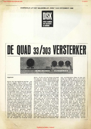 Quad 33 Quad 303 Artikel 1968 Service Manual PDF Free Download